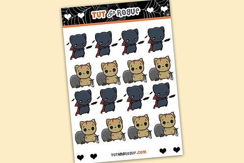 Zombie Cat Sticker Sheet, Vampire Cat stickers