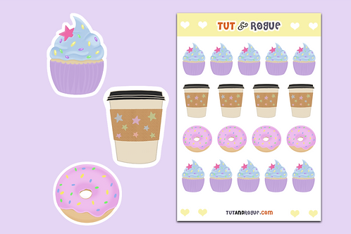 Cupcake Coffee Donut Sticker Sheet, Kawaii Sticker Sheet