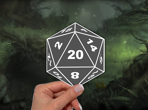 D and D Sticker, 20 Sided Dice Sticker, Dungeons and Dragons Vinyl Sticker