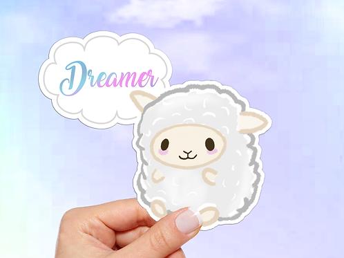 Sheep Vinyl Sticker, Dreamer