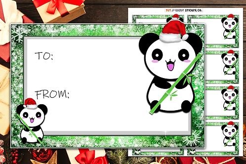 Christmas Gift Tags Panda and Bamboo