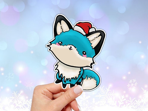 Fox Vinyl Sticker, Christmas Blue Fox