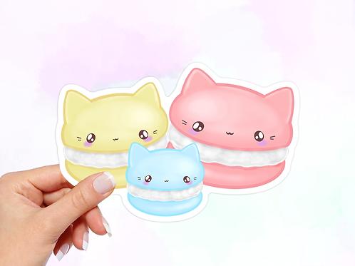Macaroons Vinyl Sticker, Cat Sticker, Dessert Sticker