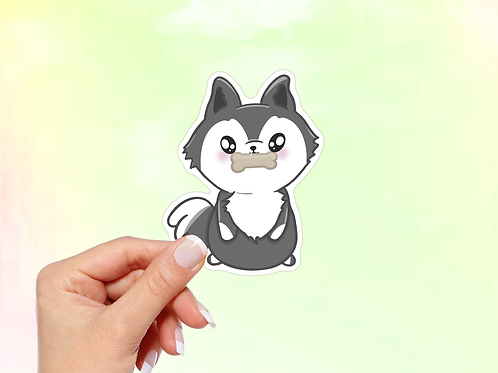 Husky Vinyl Sticker, Kawaii Sticker, Cute Dog Sticker, Do with Bone