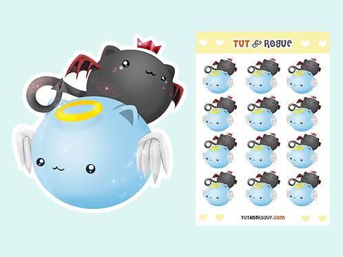 Cat Angel and Demon Sticker Sheet