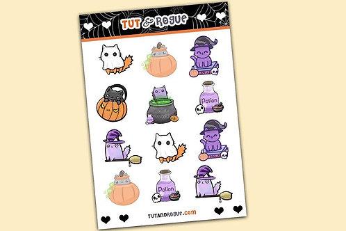 Halloween Sticker Sheet, Kawaii Cat stickers