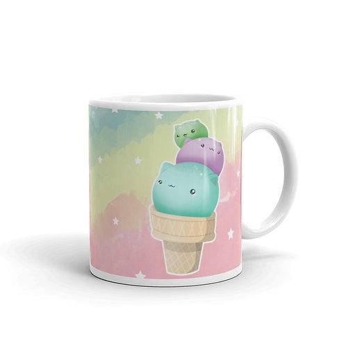 Ice Cream Coffee Mug, Cat coffee mug, Kawaii Mug