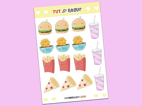 Fast Food Sticker Sheet, Kawaii Food