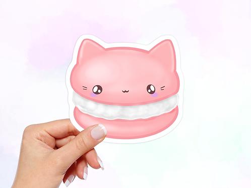 Macaroon Vinyl Sticker, Cat Sticker, Dessert Sticker