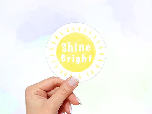 Shine Bright Vinyl Sticker, Sun sticker