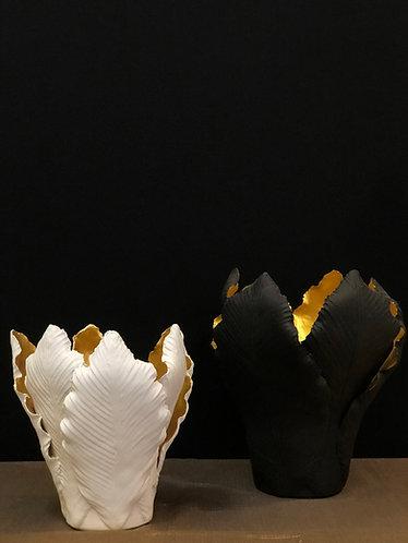 Photophore porcelaine et feuille d'or