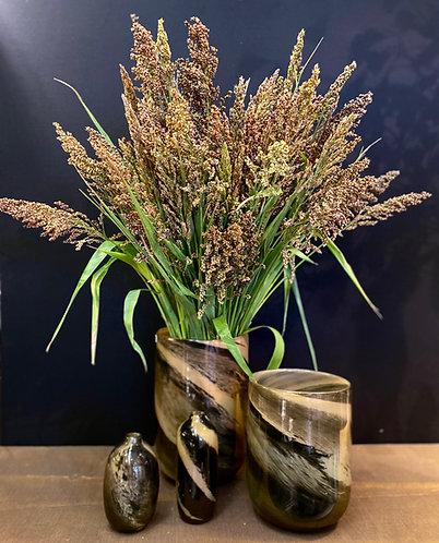 Vases  en verre noir/ marron