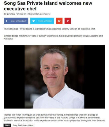 Song Saa Private Island welcomes new executive chef