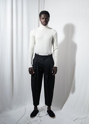 Black wool tailored pants