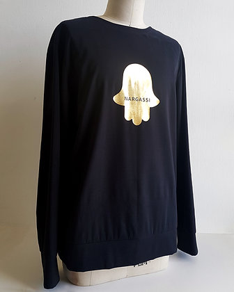 HAMSA symbol black sweater_SAMPLE