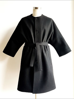 Black Wool Kimono Coat