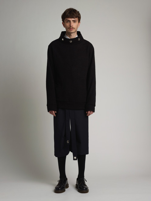 c005ff056b75 Mens black loose turtleneck sweater by Eliran Nargassi has an oversized  silhouette through the body, crafted in a high quality combination of Wool  and Poly ...