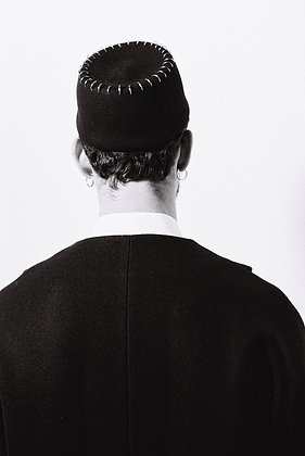 Black Moroccan Hat with Metal Hoops around