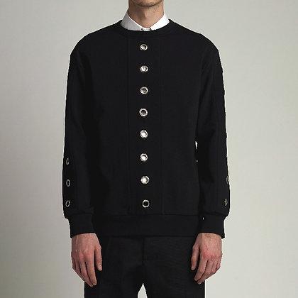 Black sweater with metal hoops