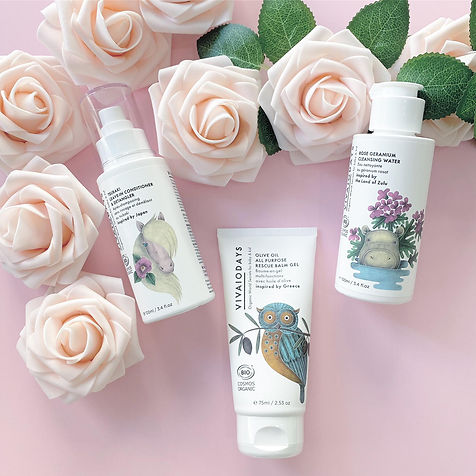 pink, roses, organic baby conditioner, balm, cleansing water