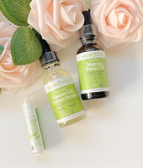 Sky Organics, USDA Certified Organic eyelash brow serum, castor oil, Marula Face Oil Serum, Lip Balm, pink roses, organic lash serum