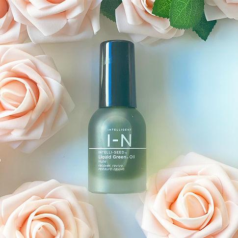 Flowers, serum, usda organic, skin care, facial oil, spa, Intelligent Nutrients, liquid green oil, new bottle, pretty organic girl