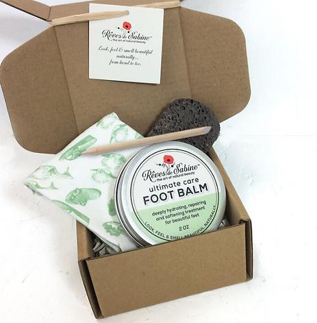 certified organic foot balm, organic foot care box, reves de sabine