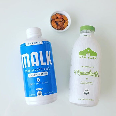 Organic almond milk, sugar-free, preservative free, certified organic almond milk