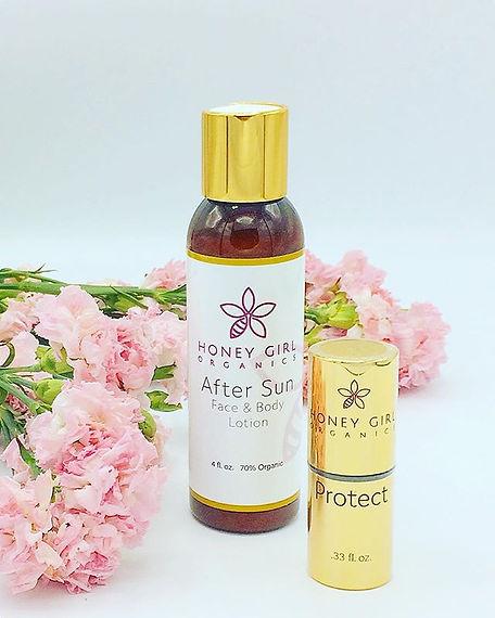 USDA Certfied organic after sun, organic skincare, after sun balm, after sun lotion, suncreen, Honey Girl Organics