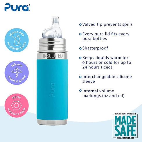 THE ONLY 100% PLASTIC FREE AND MADESAFE CERTIFIED BOTTLES ON THE PLANET: Dishwasher safe, food grade #304 (18/8) stainless steel and medical grade silicone