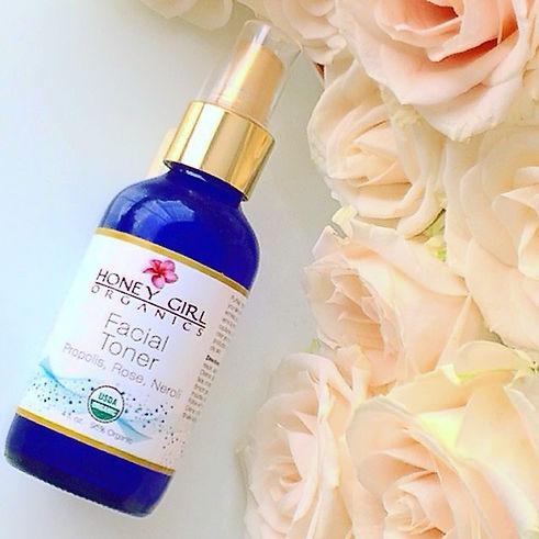 USDA Certified organic facial toner, organic rose water, honey girl organics rosewater