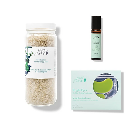 at home spa trio, 100% pure, bright eyes mask, aromatheraphy oil, eucalyptus sea theraphy bath 100% pure