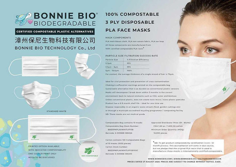 compostable, biodegradable, eco-friendly facemasks, facemask, facecover, face mask, face masks, gloves, plastic-free, BonnieBio, FDA approved