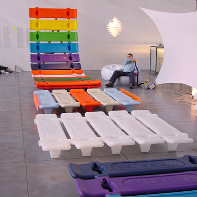 Inflate Snoozy bed exhibition