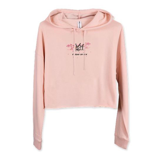 The Embroidered Cherry Blossom Crop Top Hoodie
