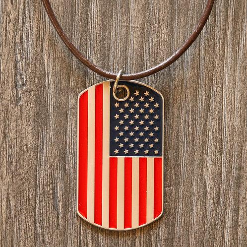 American Flag Dog Tag