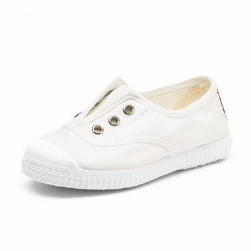 Cienta Adults Laceless Pump White trainers shoes