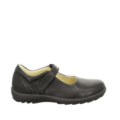 Lurchi Girls Black Leather School Shoes