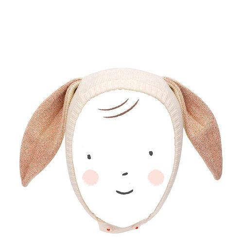 Meri Meri Bunny Ear Baby Bonnet Peach Sparkle