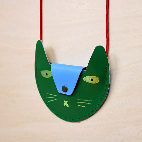 Leather Cat Purse in Green