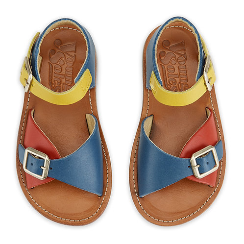 Young Soles Sonny Sandals Multi Block Retro Leather boys cool saltwater