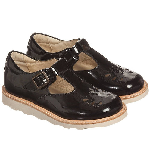 Young Soles Rosie T-Bars - Black Patent