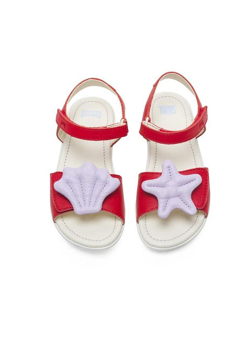 Camper Twins Leather Seashell Sandals - Red / Lilac