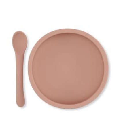 Konges Sløjd Silcone Bowl & Spoon Set - Rose