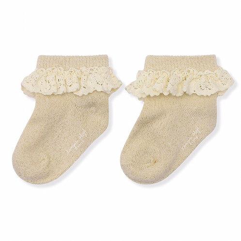 Konges Sløjd Lace Lurex Socks  Cream frill frilly