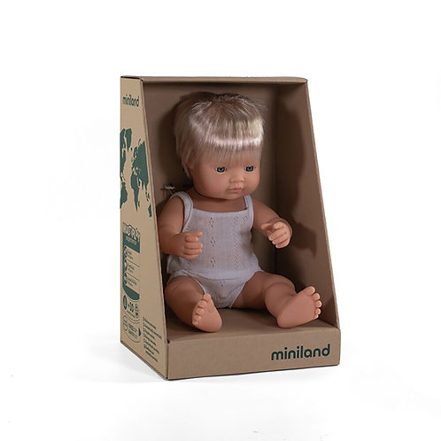 Miniland 38cm Toddler Doll - Caucasian Boy