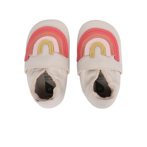 Bobux x Bonnie Mob Spring Rainbow Soft Soles Milk baby shoes