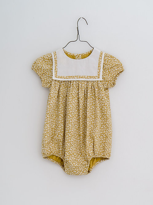 Mina Romper in Blossom Floral Mustard - Little Cotton Clothes