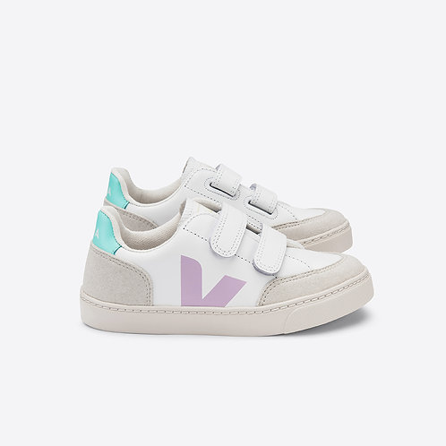 VEJA Kids V12 Velcro Leather - Extra White Parme Turquoise