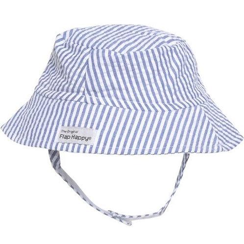 Bucket Hat by Flap Happy Blue Seersucker Stripe (UPF 50+)